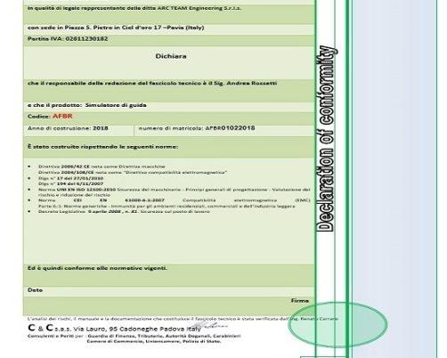 Dichiarazione di Conformità Simulatori by ARC-Team Engineering